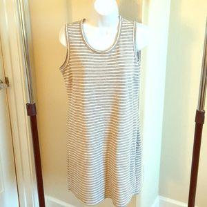 Gray and white stripe T-shirt dress